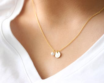 Initial necklace, Hand Stamped Initial necklace, pearl necklace, initial gold disc necklace, personalized necklace,  bridesmaid gift