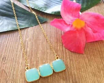 Sea Foam Chalcedony Bar Necklace