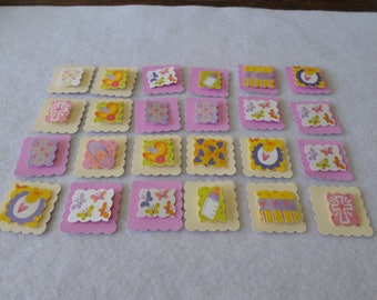 24 Baby themed 3-D cardstock embellishments, handmade, for card making, paper crafting, scrapbooking