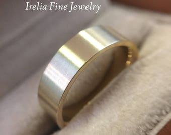 14k Gold 6 mm Flat Wedding Band pictured in Satin Finish, available in Polished and white or Yellow Options