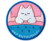 Nap Enthusiast Iron-on Patch - 3-inch Embroidered Magical Cat Illustration by Sparkle Collective