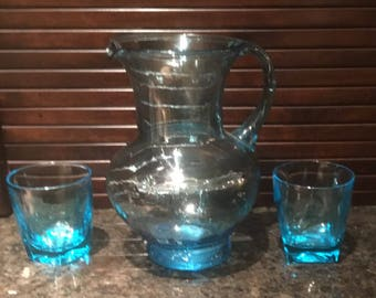 Vintage Small Blue Glass Handblown Pitcher and 2 Small Blue Glasses.