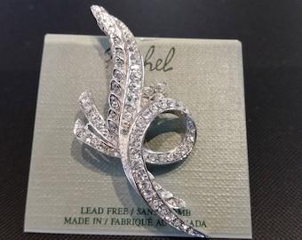 Rachel Fancy Swarovski crystal brooch.  Rhodium plated with handset Swarovski crystals.  Vintage, Designer, New