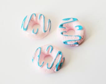 2 x resin cabochons 10mm DONUT pink