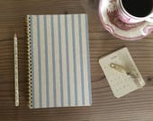 Bullet Journal: Journal; Illustrated Journal hand crafted, wire bound, 100 lined pages, kraft paper hand drawn striped cover