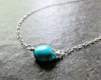 Real Natural Turquoise Necklace- Sterling Silver, 14K Gold Filled or Rose Gold Filled Chain- December Birthstone- Genuine Turquoise Jewelry