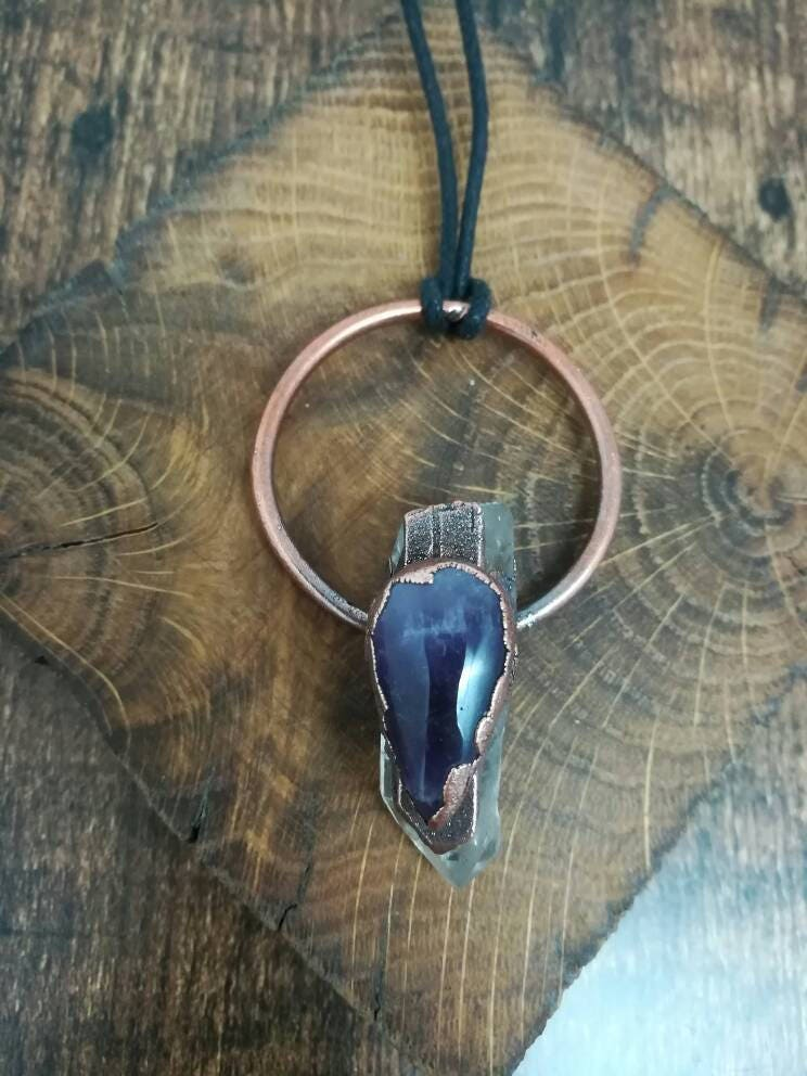 Amethyst and clear quartz crystal copper electroformed pendant on adjustable black cord