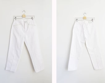 White Ralph Lauren Pants // Medium 28 Inch Waist Cropped White Pants // Women's Vintage Clothing