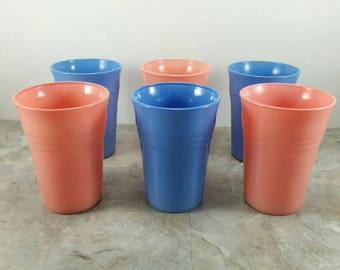 Vintage Hazel Atlas Moderntone Platonite Drinking Cups Set of 6 Blue and Pink Cups - 1940's Dining