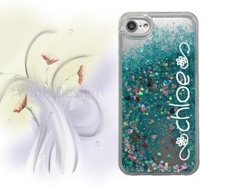iPhone 6s case iPhone 7 Plus case Monogram Name iPhone 7 case iPhone 6 case iPhone 6s plus case iPhone 6 plus teal liquid glitter floating