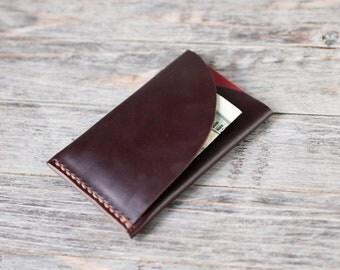 Leather Card Holder Leather Wallet Card Case Horween Burgundy Chromexcel Minimalist Slim Wallet Natural Leather Full Grain Card Holder Mens