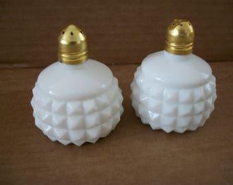 English hobnail salt and pepper milkglass