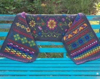 Rainbow Hygge Shawl Wrap Crochet Cross Stitch Shoulder Shawl Bed Sofa Decor