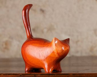 Wooden Martha Carved From Padauk Wood by Perry Lancaster, Red Ginger Padouk Cat, Cat Figurine Statue Sculpture