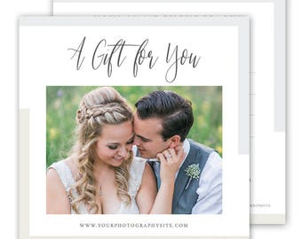 Photography Gift Card Template, Gift Certificate template, Photography Marketing Template 5x5