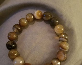 Brown agate beaded stretch bracelet