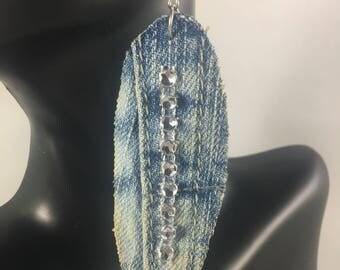 Denim leaf earrings