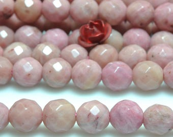 62 pcs of Natural Red Rhodonite faceted round beads in 6 mm (07290#)
