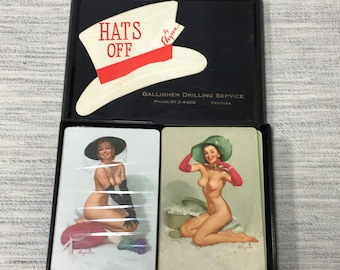 Pin Up Elvgren Playing cards Double Deck one unopened with US Internal Revenue Stamp