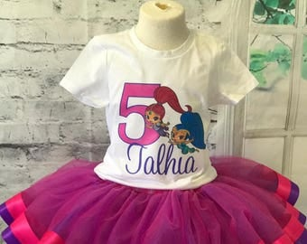 Shimmer and Shine tutu, Shimmer and Shine birthday, Shimmer and Shine birthday shirt, Shimmer and Shine birthday outfit,