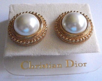 Signed Christian Dior Clip Earrings Gold Plated with Pearl New (D)