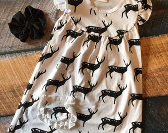 Black Deer Ruffle Dress and Bow - 1/2yrs