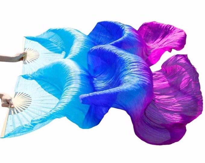 Silk Dance Fans // Light Blue, Blue and Purple