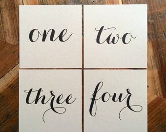 Square Table Numbers, Wedding Table Numbers, Party Table Numbers, Rustic Table Numbers