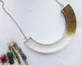 The Big Curve glitter splash necklace