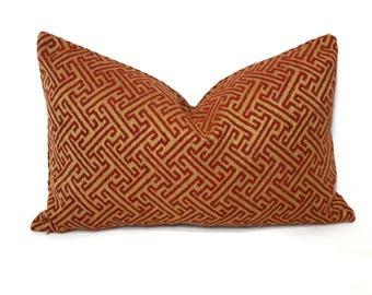 "12"" x 20"" Kravet Smart Gold and Red Fretwork Lumbar Pillow Cover"