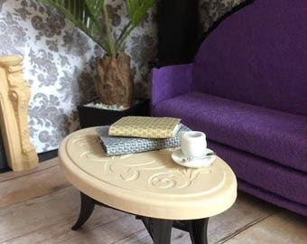Upcycled Doll Furniture  - Coffee Table for Diorama / Display
