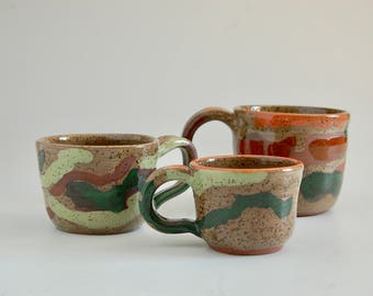 Assorted Mugs camouflage colors,hand thrown stoneware, three sizes