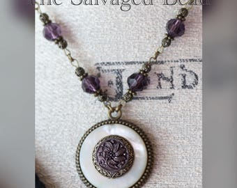 Antique Victorian Amethyst Czech Glass on MOP Button Necklace circa 1900