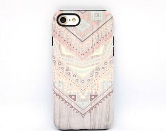 Aztec iPhone 7 case, iPhone 7 case, iPhone 7 Plus case, iPhone 6s case, iPhone 6 case, iPhone 5s case, iPhone 8 case - Wood