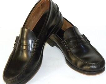 Vintage Florsheim Black Leather Penny Loafers / Classic wardrobe staple / men's size 9.5 EE