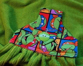 TMNT Teenage Mutant Ninja Turtles Green Hanging Dish Towel Kitchen Towel - Ready to Ship FREE SHIPPING!