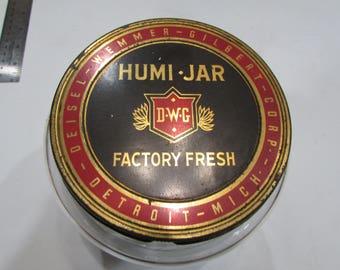 Vintage.W.G Humi-Jar Cigar Glass Jar Metal Lid Humidor Detroit, MI Ohio Factory