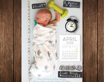 Custom Baby Milestone Birth Announcement