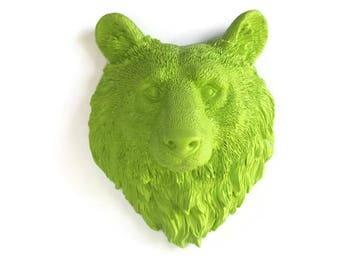 Faux Taxidermy Small Chartreuse Bear Head - Wall Hanging - Gift for Her - Faux Taxidermy Heads - Bathroom Decor - Woodland Nursery