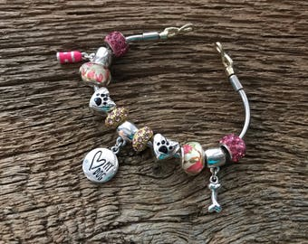 Love my dog charm bracelet in pink and silver: infinity knot dog lover bracelet, dog bracelet, dog lover bangle, dog charm bracelet, dogs