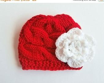 ON SALE 10% SALE Newborn Baby Beanie, Knit Baby Hat, Girls Beanie Hat , Newborn Baby Hats , Baby Hat Photo Prop , Knit Baby Hat