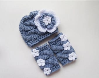 ON SALE 20% DISCOUNT Knit Baby Hat and Leg Warmers Set -Newborn Baby-  Photography Photo Prop Set - Newborn Diaper Cover and Hat