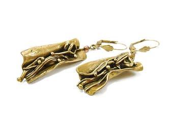 Boucles d'oreilles bronze artisanal plié en livre ouvert