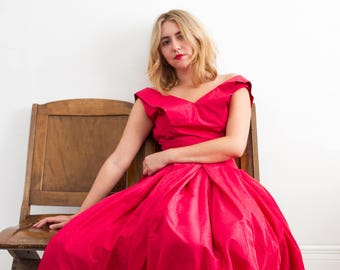 vintage 1950s red taffeta dress | XS/S