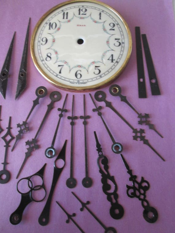 "4 1/2"" Vintage German Heco Porcelain Anniversary Clock Dial and 10 Pairs of Assorted Clock Hands for your Clock Projects - Steampunk Art"