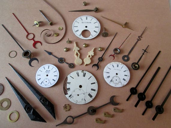Lot 3  Steampunk Art Goodies - Antique & Vintage Porcelain Pocket Watch Dials, 1 Pair of Old Cuckoo Clock Hands, Clock Hands/Gauge Pointers