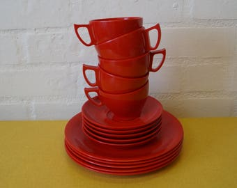 Vintage Melaware cups, saucers and plates in red