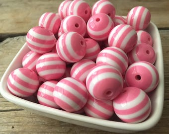 20mm Light Pink and White Stripe Chunky Bead, Valentines Bubblegum Bead, Spring Acrylic Bead, DIY Chunky Necklace, 10 Count