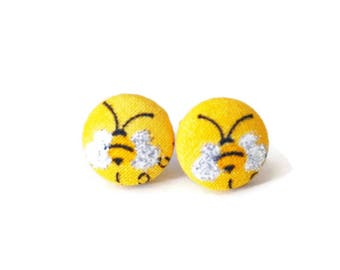 Honeybee Earrings, Button Post Earring, Small Fabric Studs, Cover Button Jewelry, Nickel-free, Titanium Jewelry, Yellow & Black, Buzzy Bees