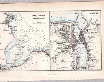 Vintage map of Hartlepool and Whitby, published circa 1875, Imperial Gazetteer of England & Wales #00180